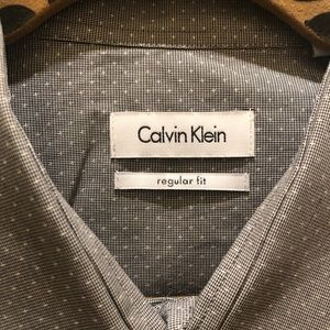 Calvin Klein Grey and White Dress Shirt